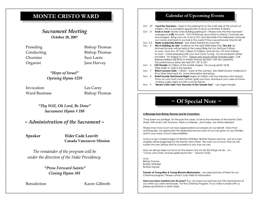 008 Unique Free Church Program Template Design Highest Quality 868