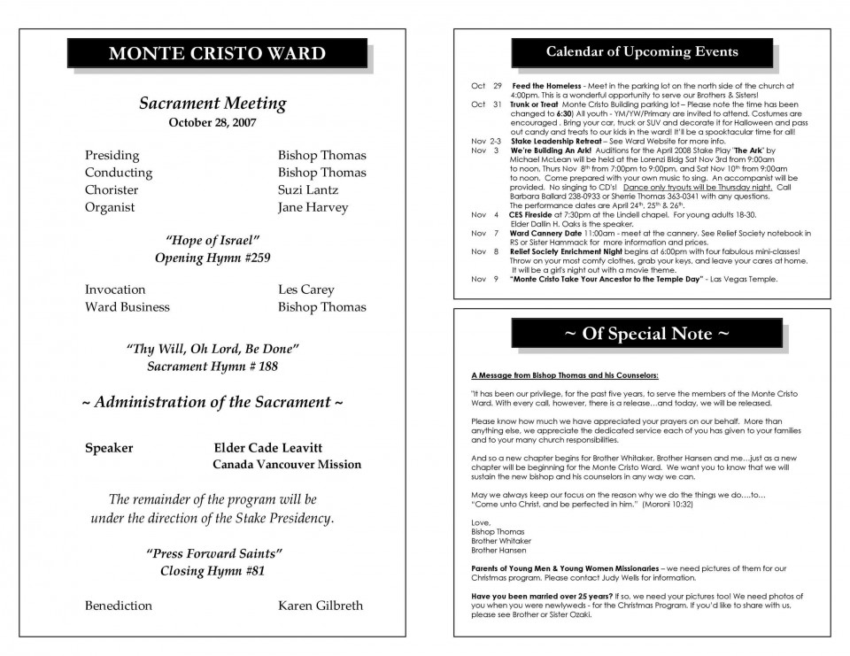 008 Unique Free Church Program Template Design Highest Quality 960