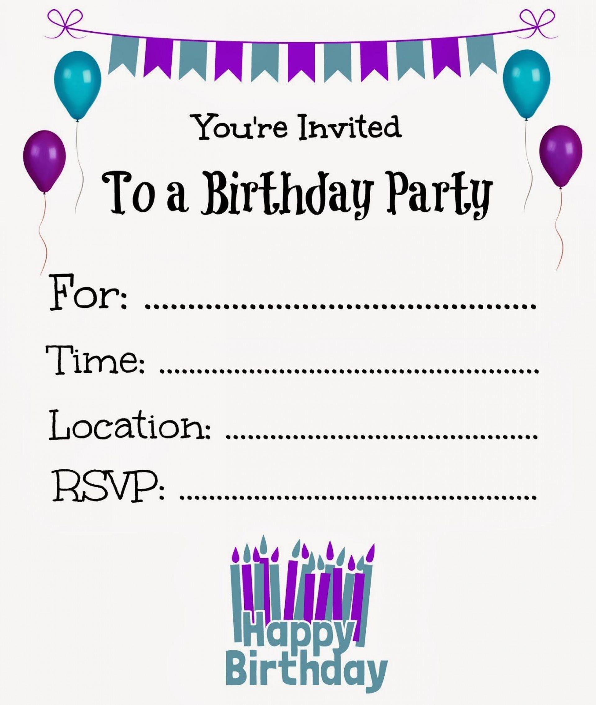 008 Unique Free Online Birthday Party Invitation Template Photo  Templates Maker1920
