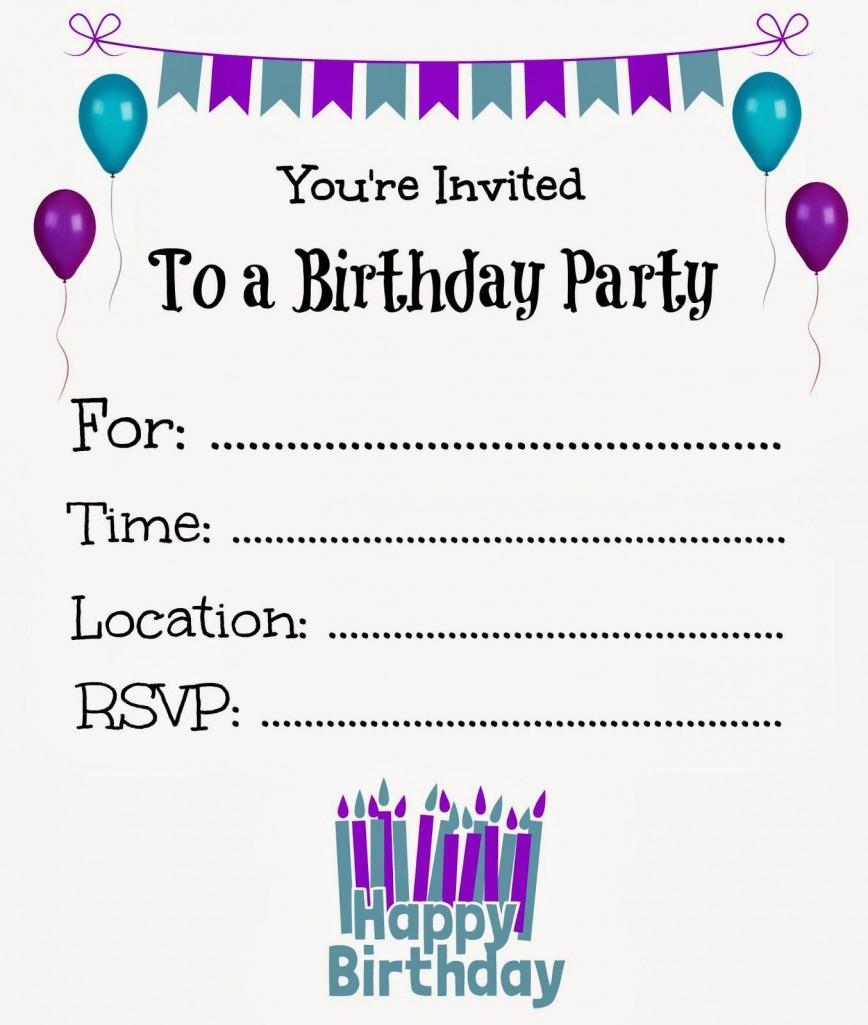 008 Unique Free Online Birthday Party Invitation Template Photo  Templates Maker