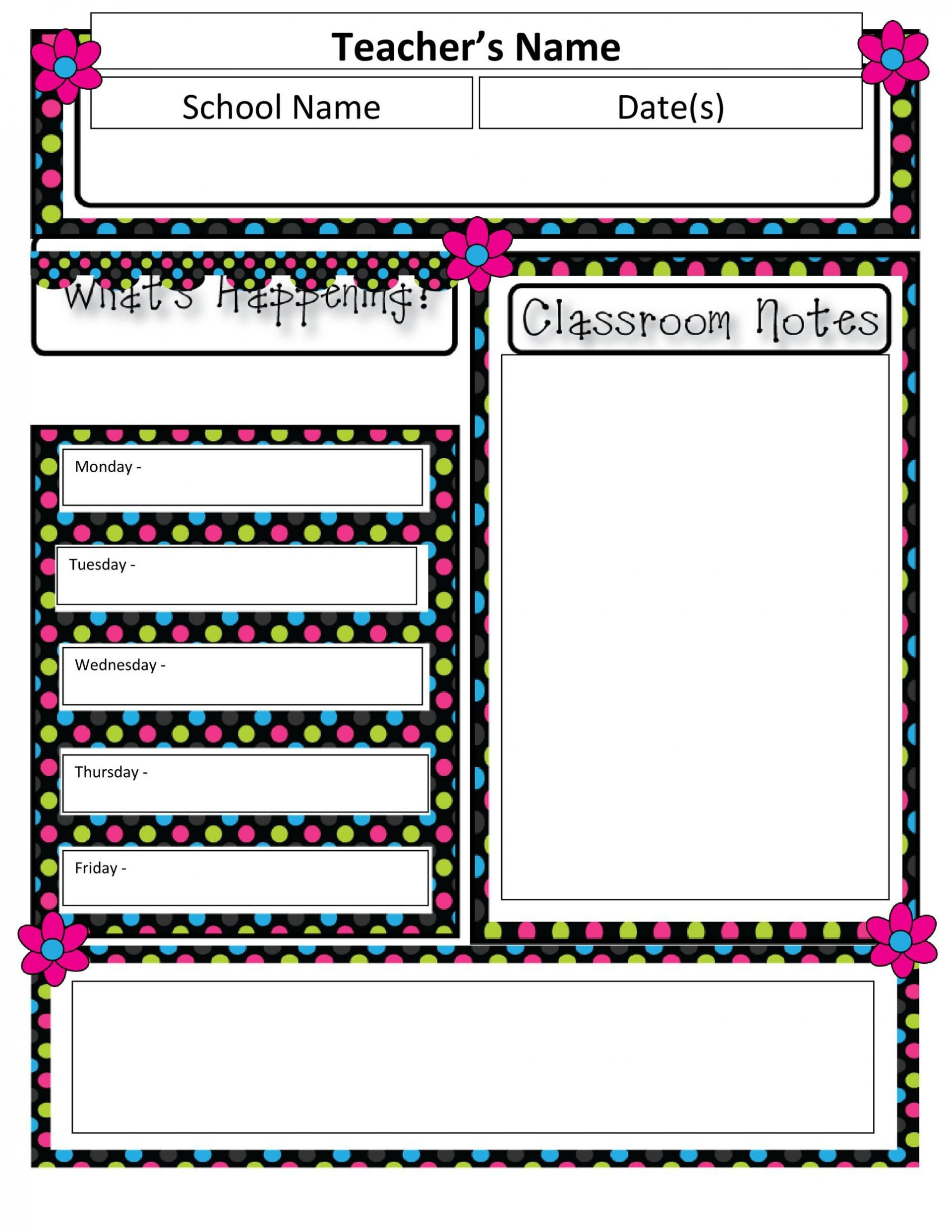 008 Unique Free Teacher Newsletter Template Image  Classroom For Microsoft Word Google Doc1920