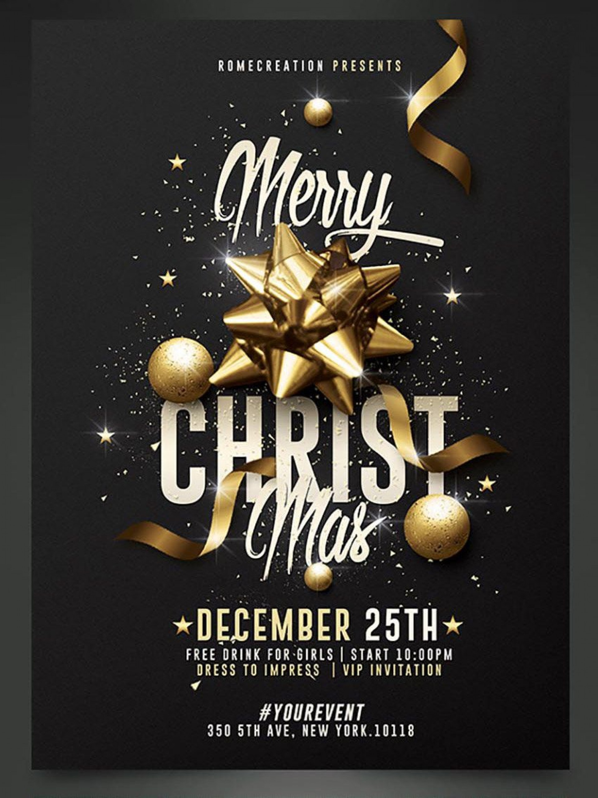 008 Unique Holiday Party Flyer Template Free Picture  Office1920