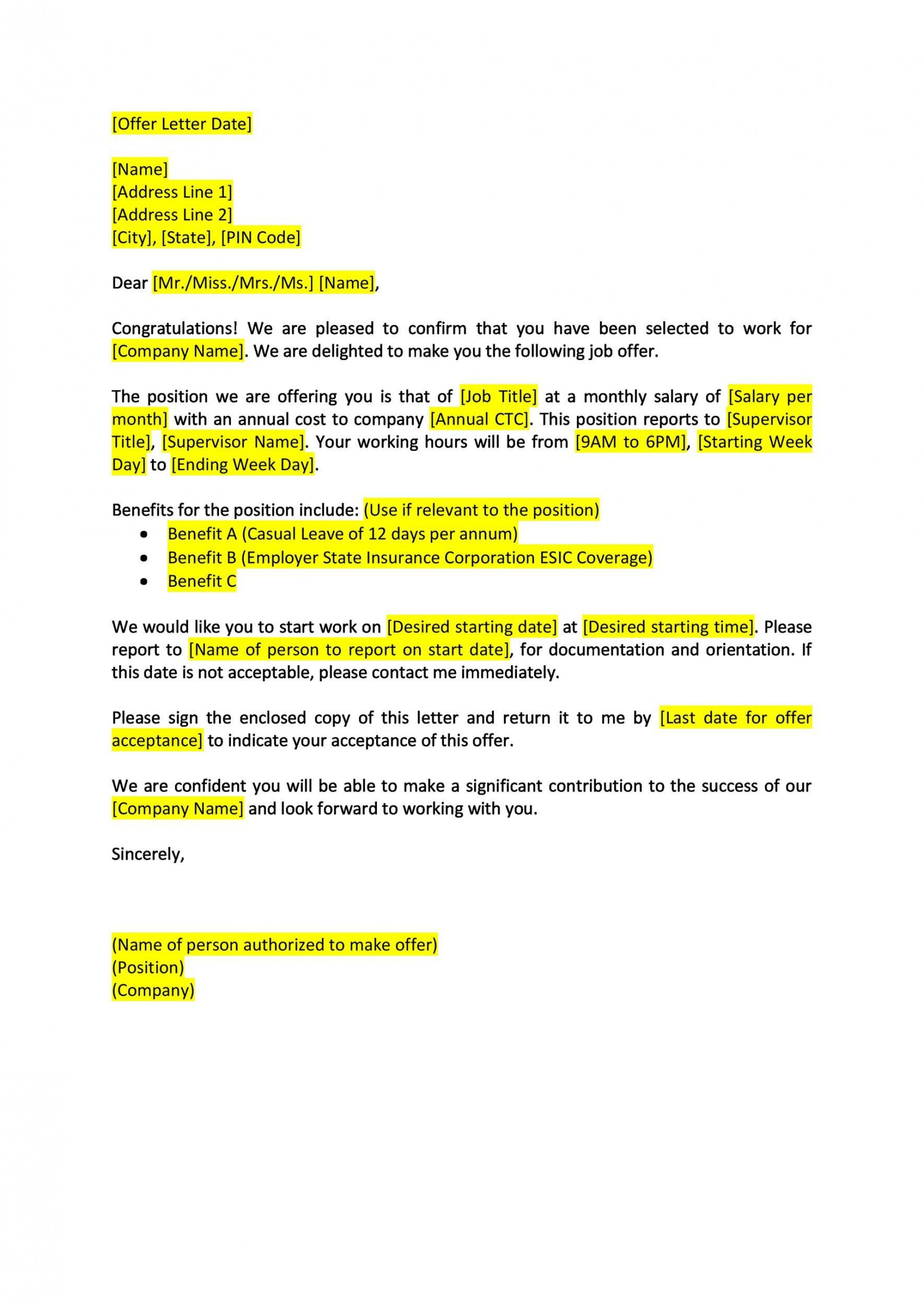 Job Acceptance Letter From Employer from www.addictionary.org