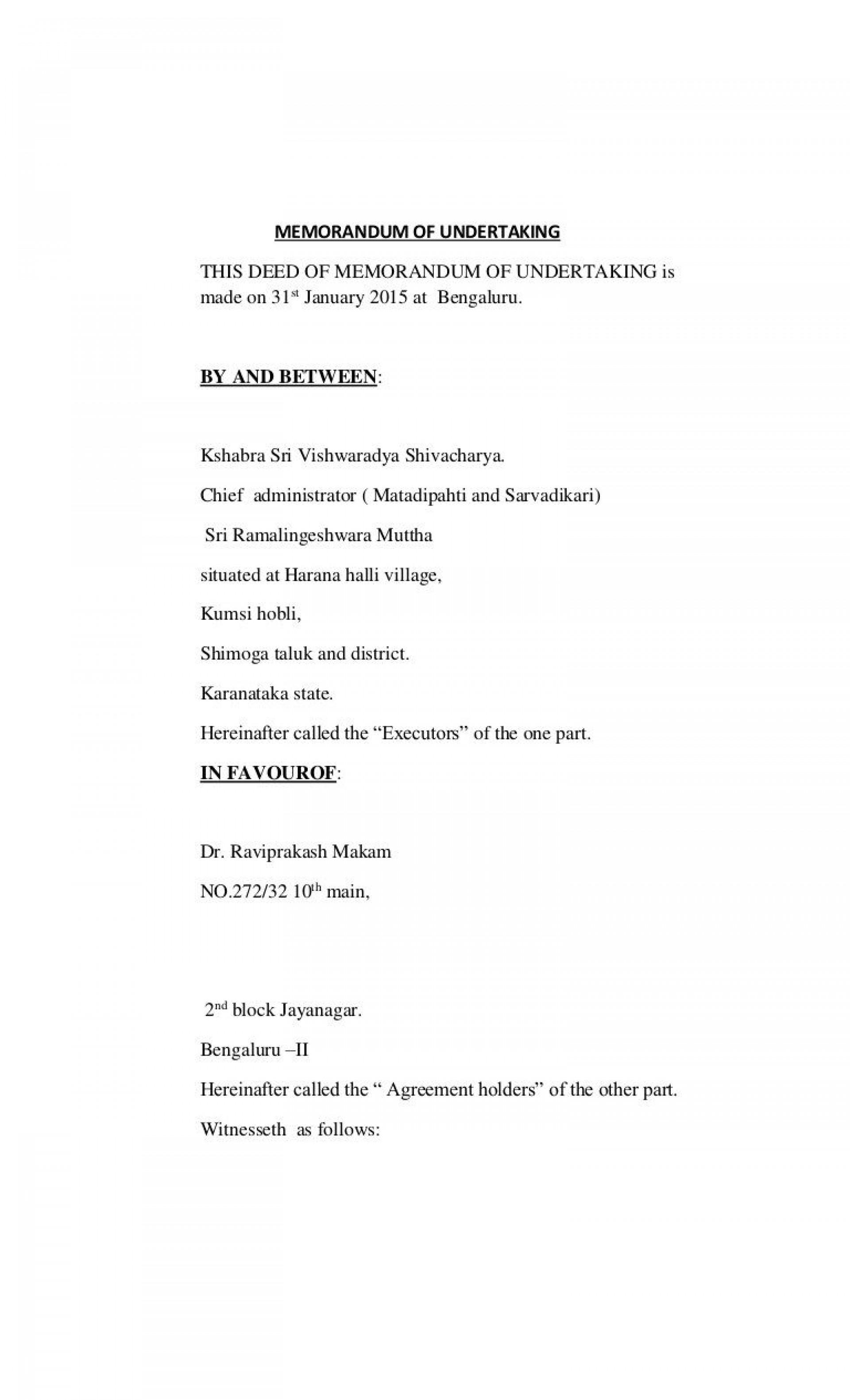 008 Unique Letter Of Understanding Format Concept  Sample Memorandum1920