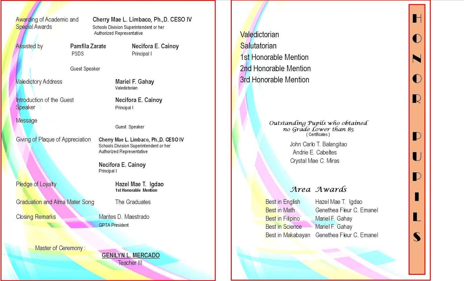 008 Unique Preschool Graduation Program Template Concept  Templates Free Printable PdfFull
