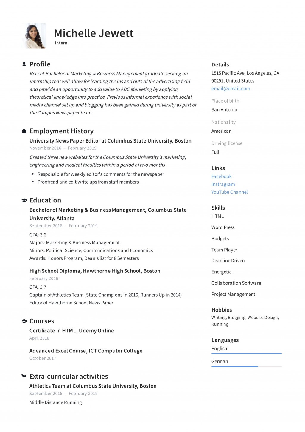 008 Unique Resume Template For Intern Image  Interns Internship In Engineering Law ExampleLarge