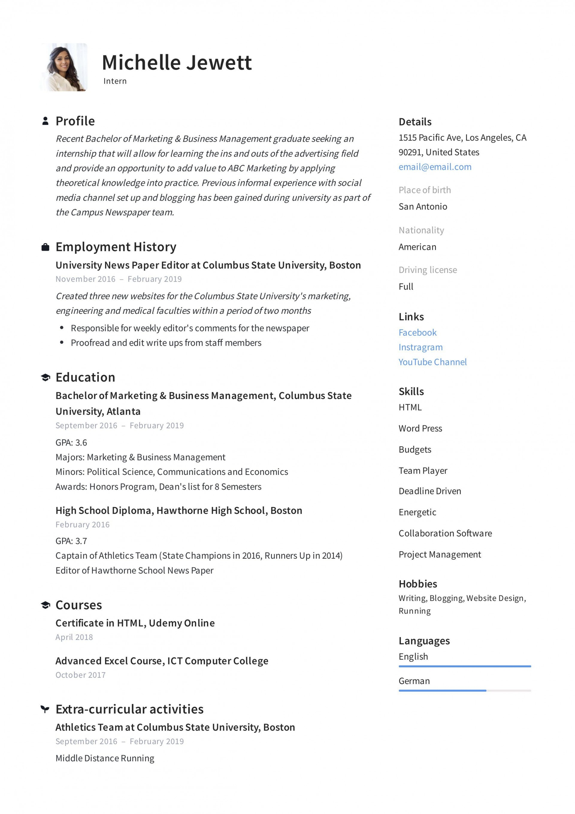 008 Unique Resume Template For Intern Image  Interns Internship In Engineering Law Example1920
