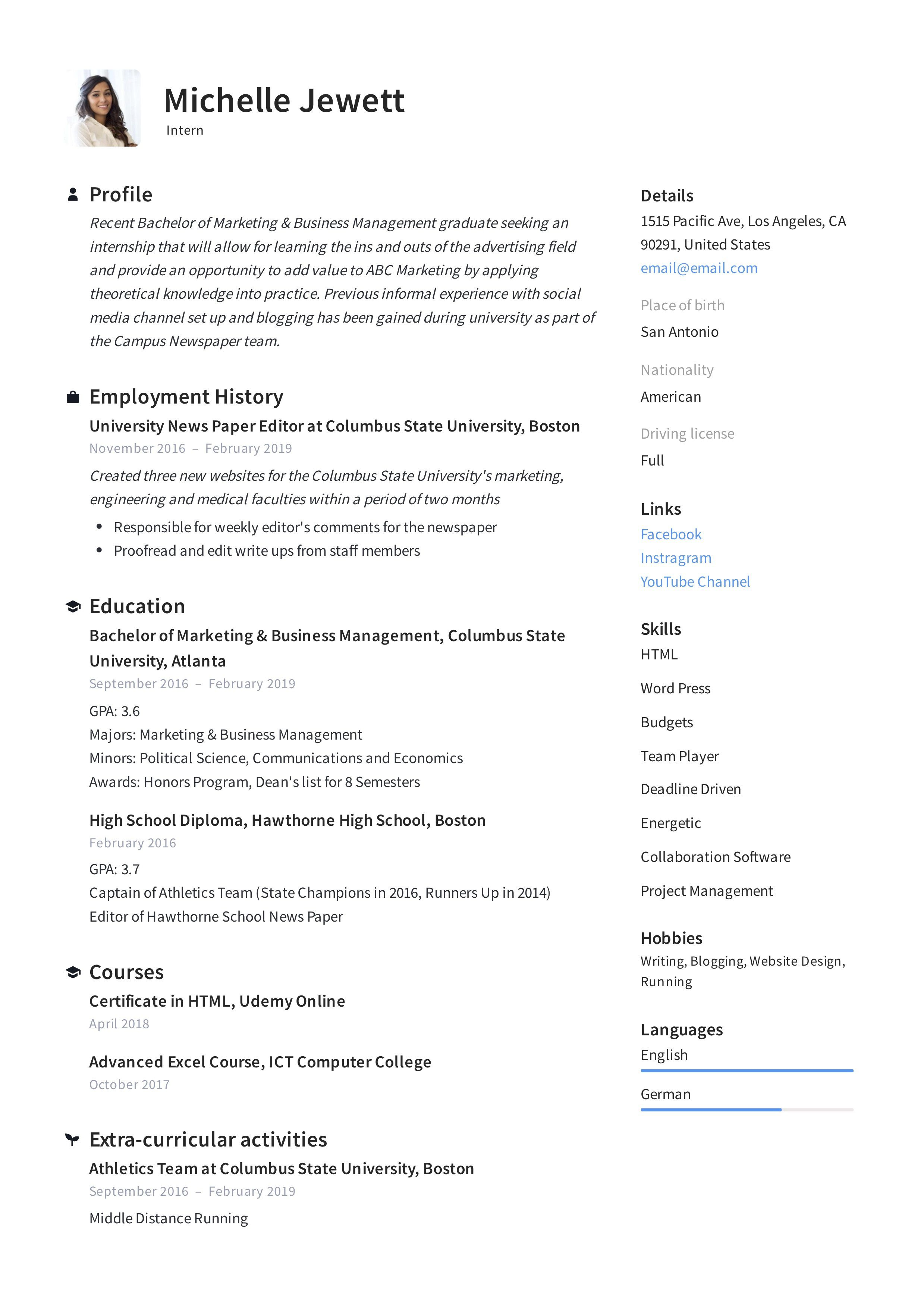008 Unique Resume Template For Intern Image  Interns Internship In Engineering Law ExampleFull