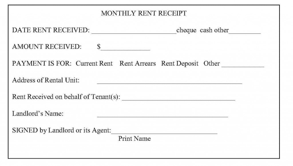 008 Unique Sample Rent Receipt Word Doc Picture Large