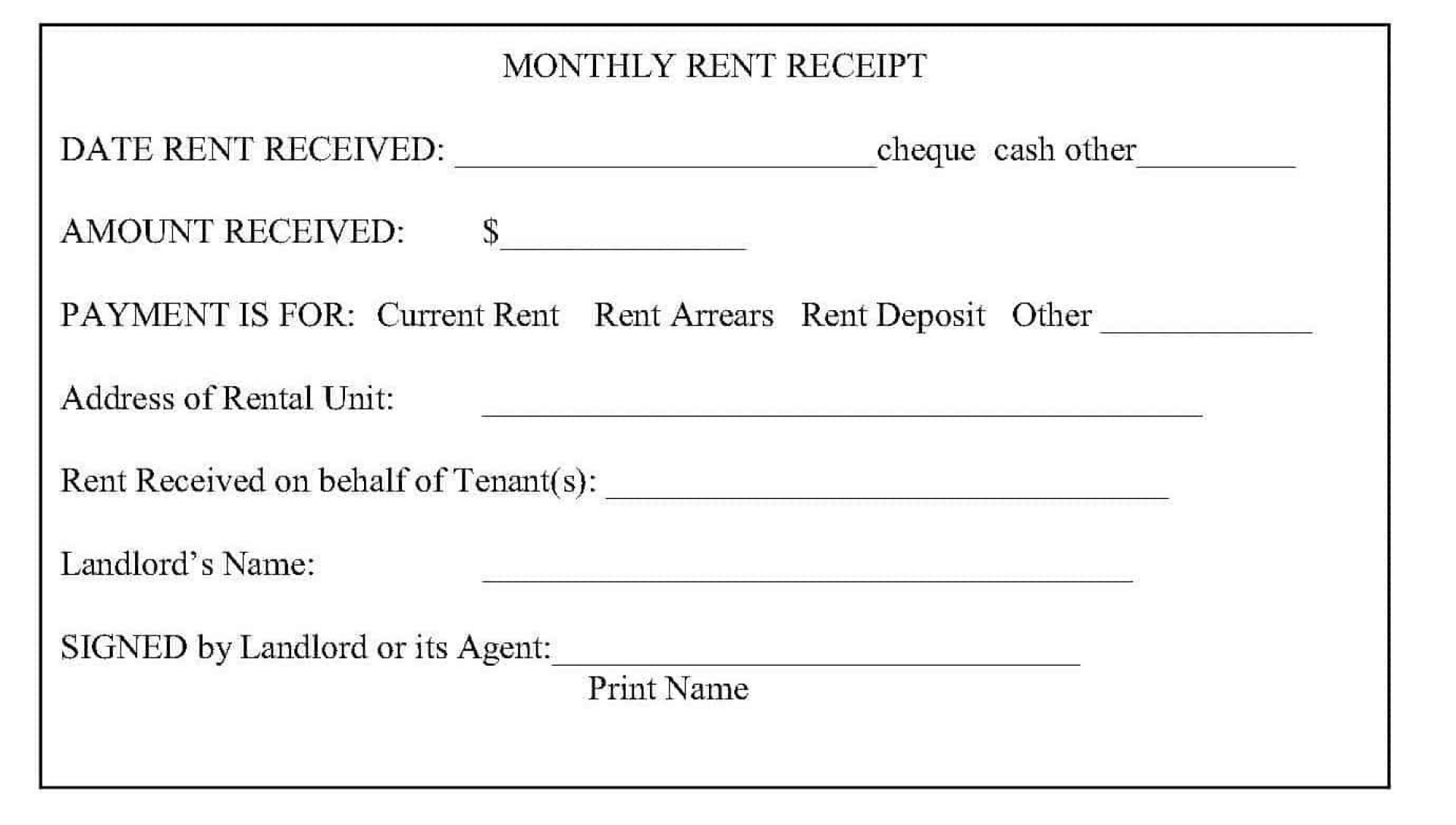 008 Unique Sample Rent Receipt Word Doc Picture 1920