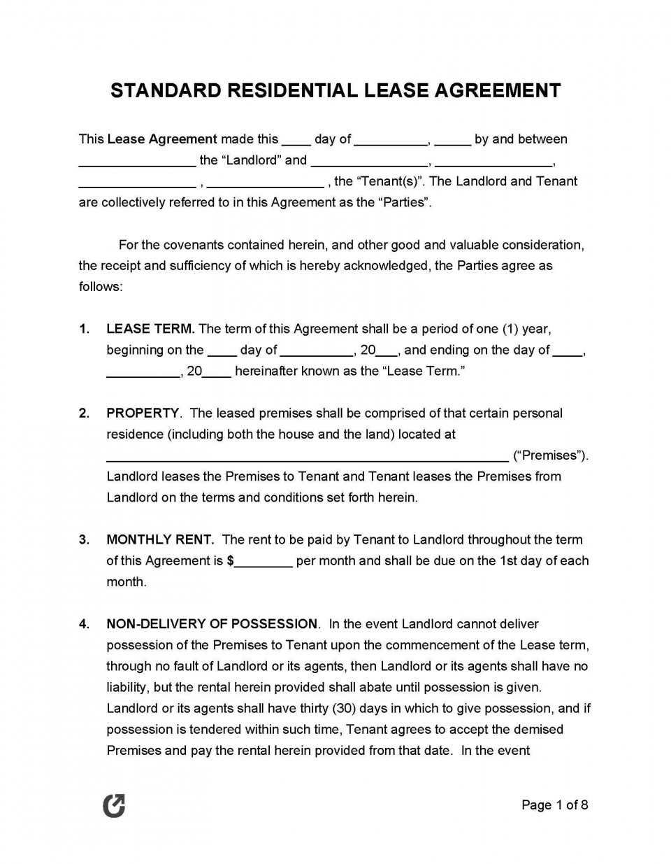 008 Unique Template For Lease Agreement Highest Quality  South Africa Pdf Printable Generic Rental Free960