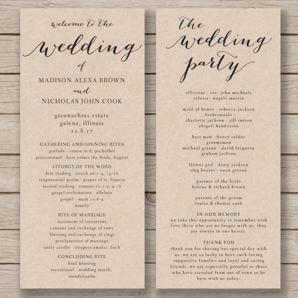 008 Unique Wedding Order Of Service Template Design  Church Free Microsoft Word DownloadLarge