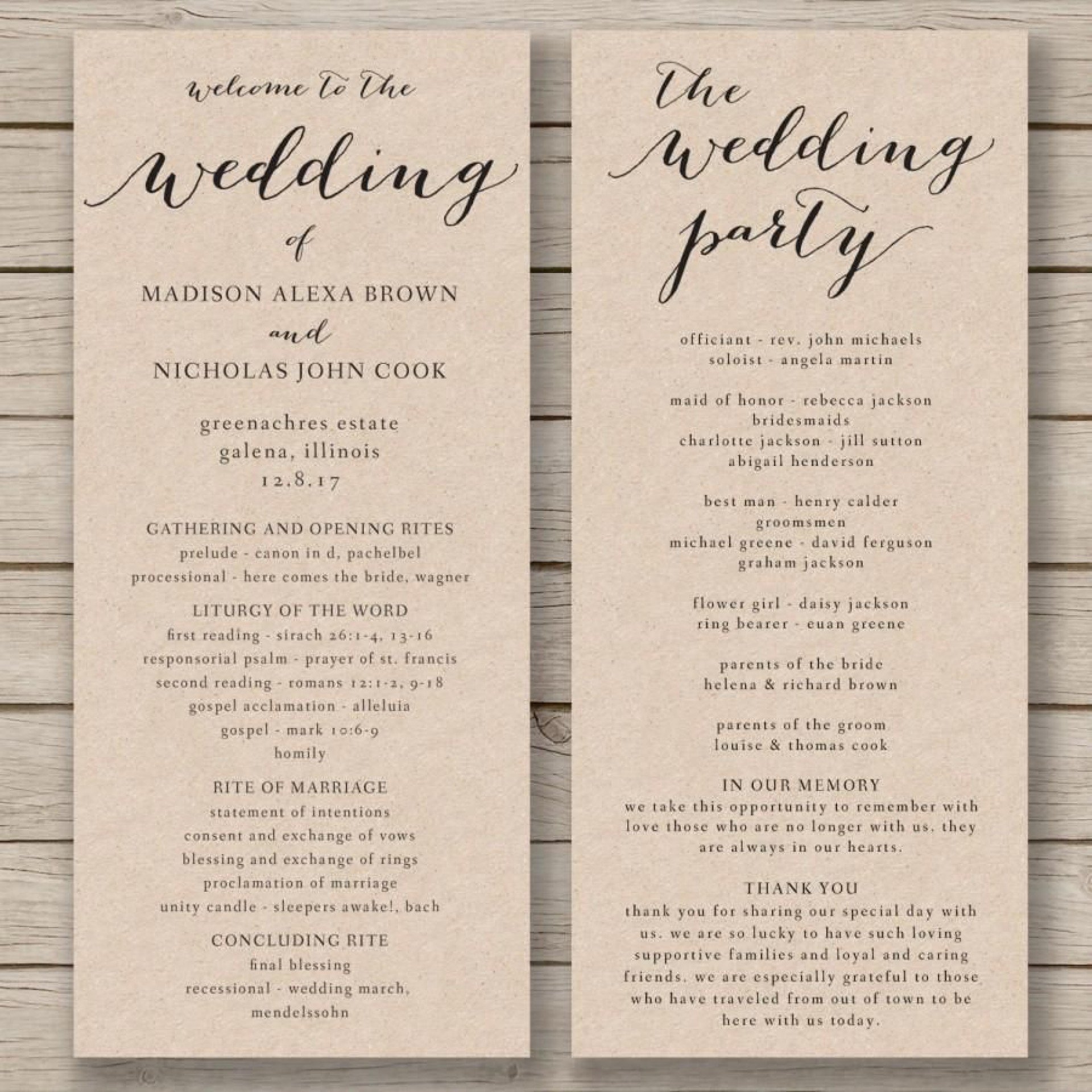 008 Unique Wedding Order Of Service Template Design  Church Free Microsoft Word Download1920