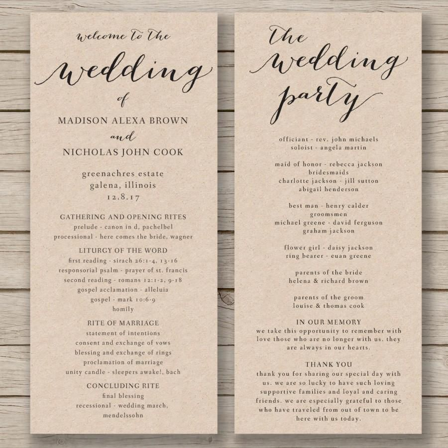 008 Unique Wedding Order Of Service Template Design  Church Free Microsoft Word DownloadFull