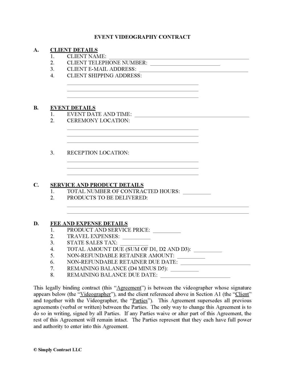 008 Unique Wedding Videographer Contract Template Picture  Videography PdfFull