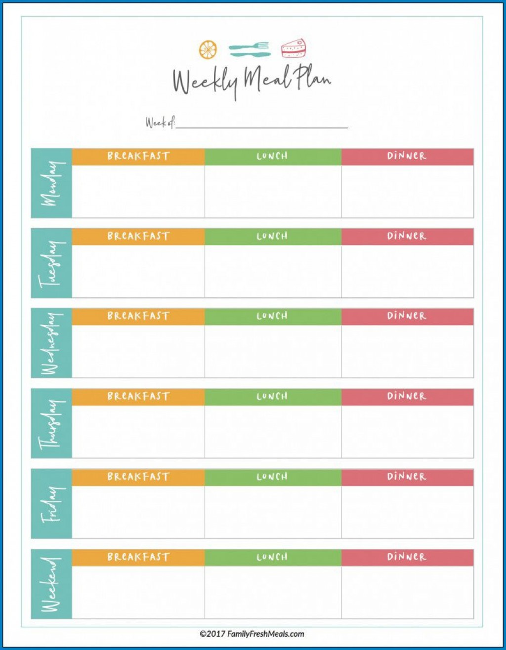 008 Unique Weekly Meal Planner Template Excel Photo  Downloadable Plan EditableLarge