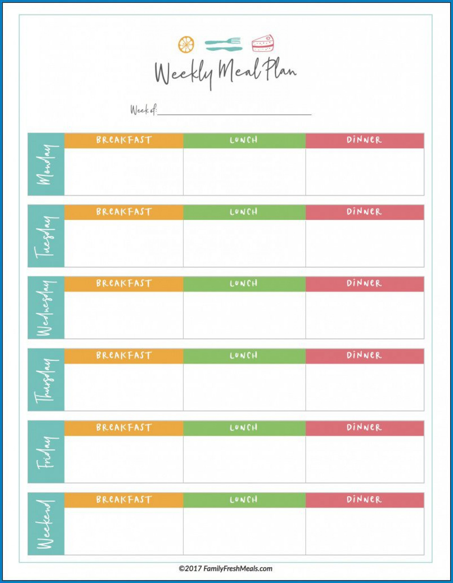 008 Unique Weekly Meal Planner Template Excel Photo  Downloadable Plan Editable1920