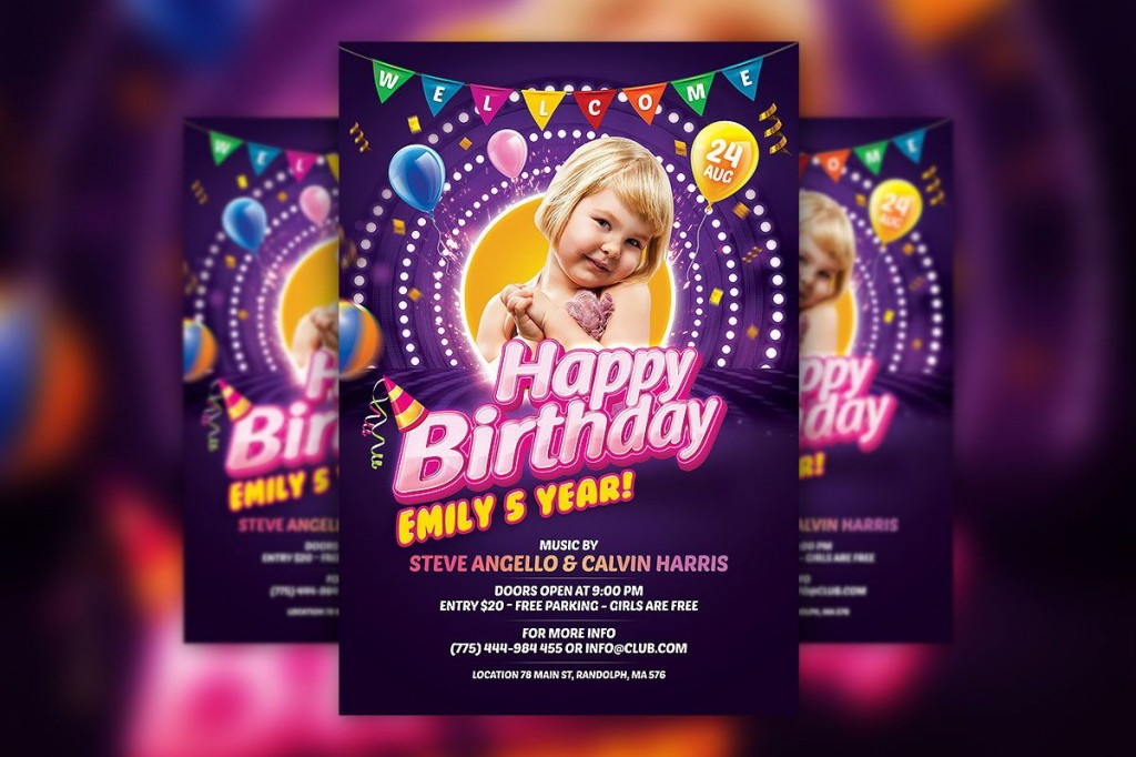 008 Unusual Birthday Party Invitation Flyer Template Free Download Idea Large