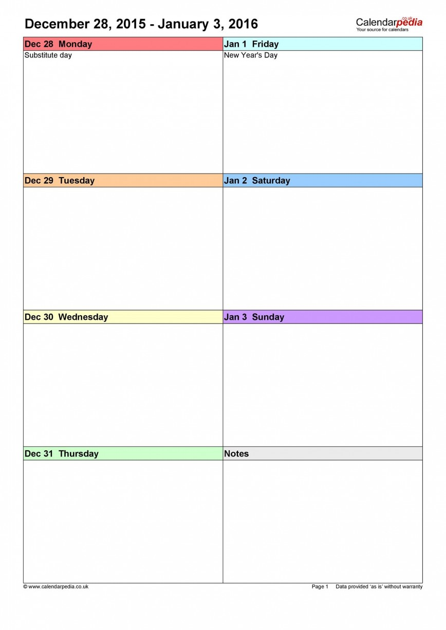 008 Unusual Blank Weekly Calendar Template Sample  Pdf 2019