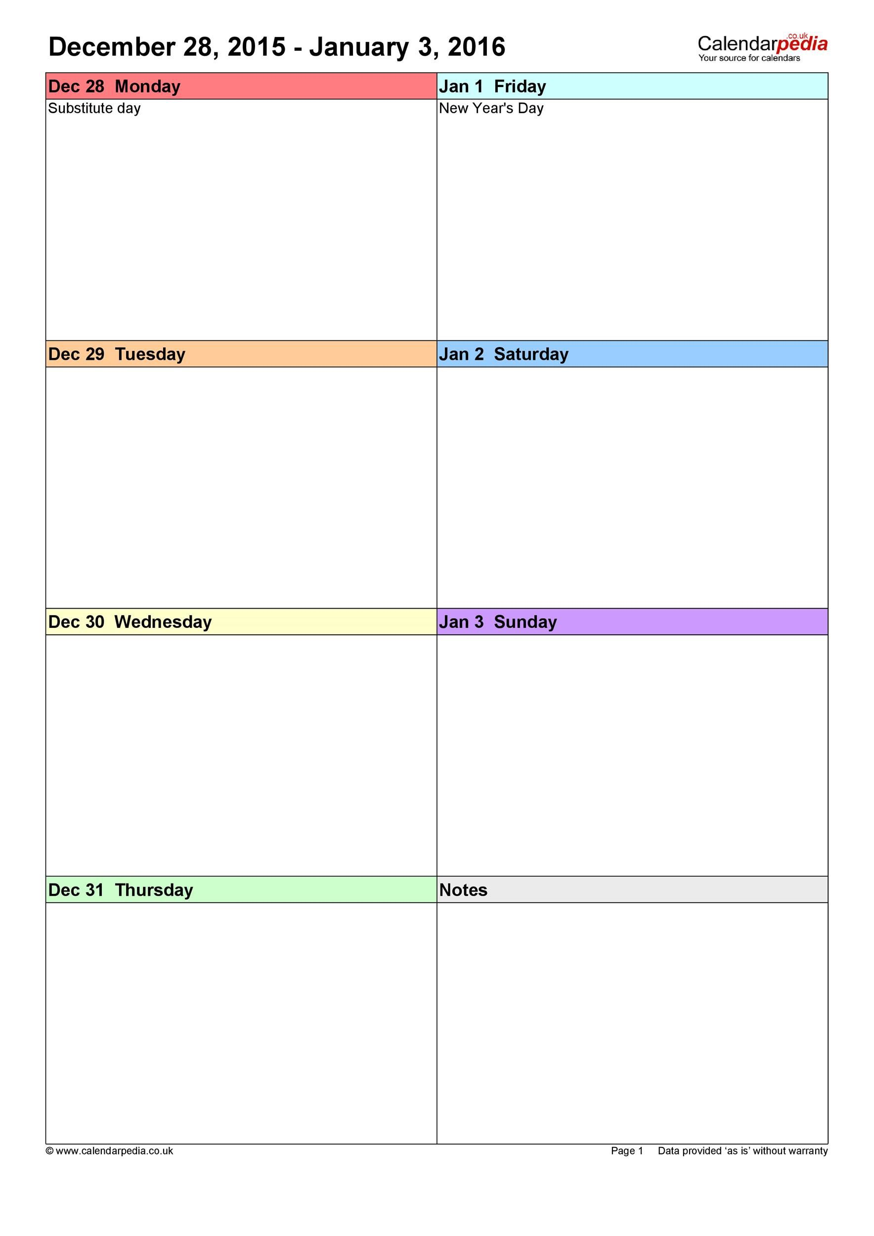 008 Unusual Blank Weekly Calendar Template Sample  Word Microsoft 2019Full