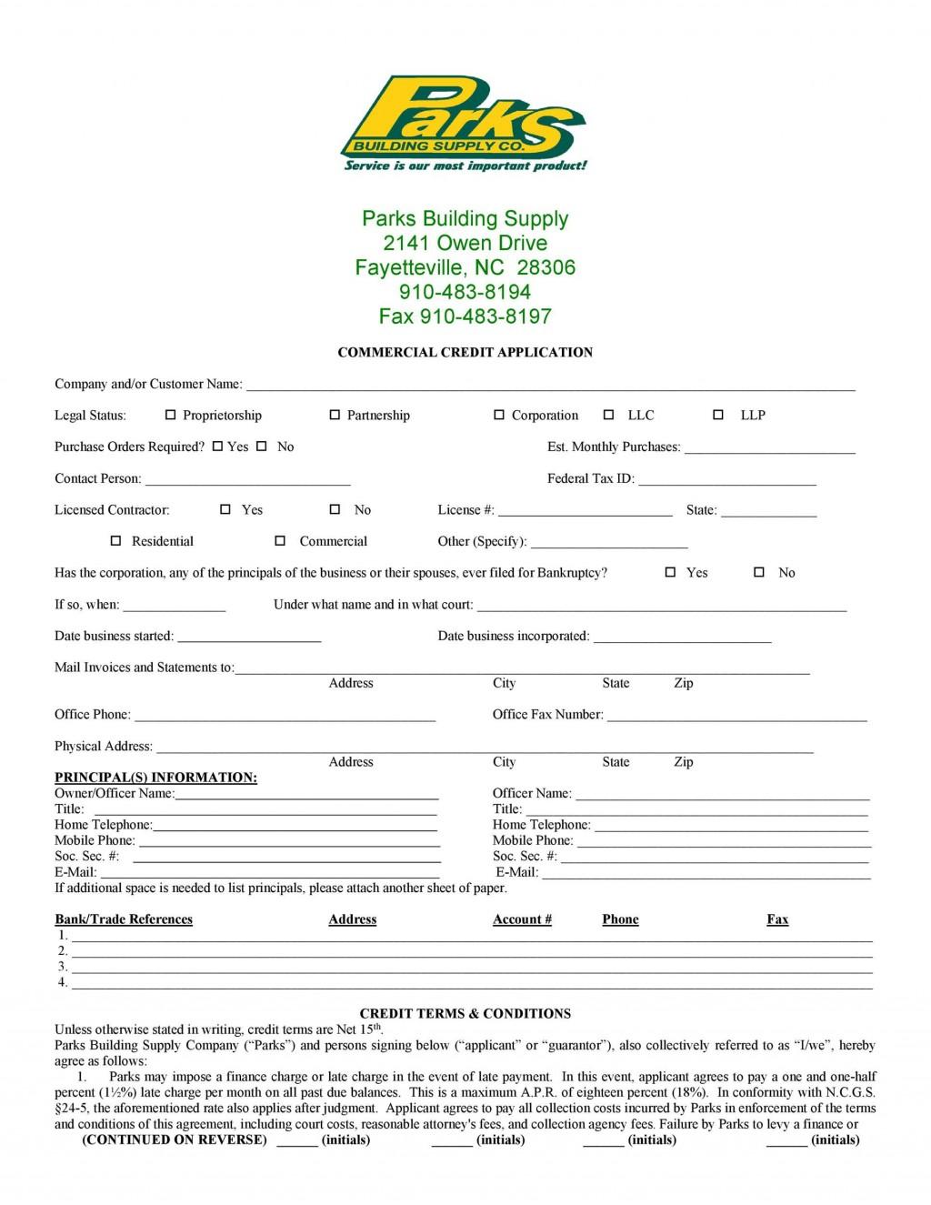 008 Unusual Busines Credit Application Form Free Idea  TemplateLarge