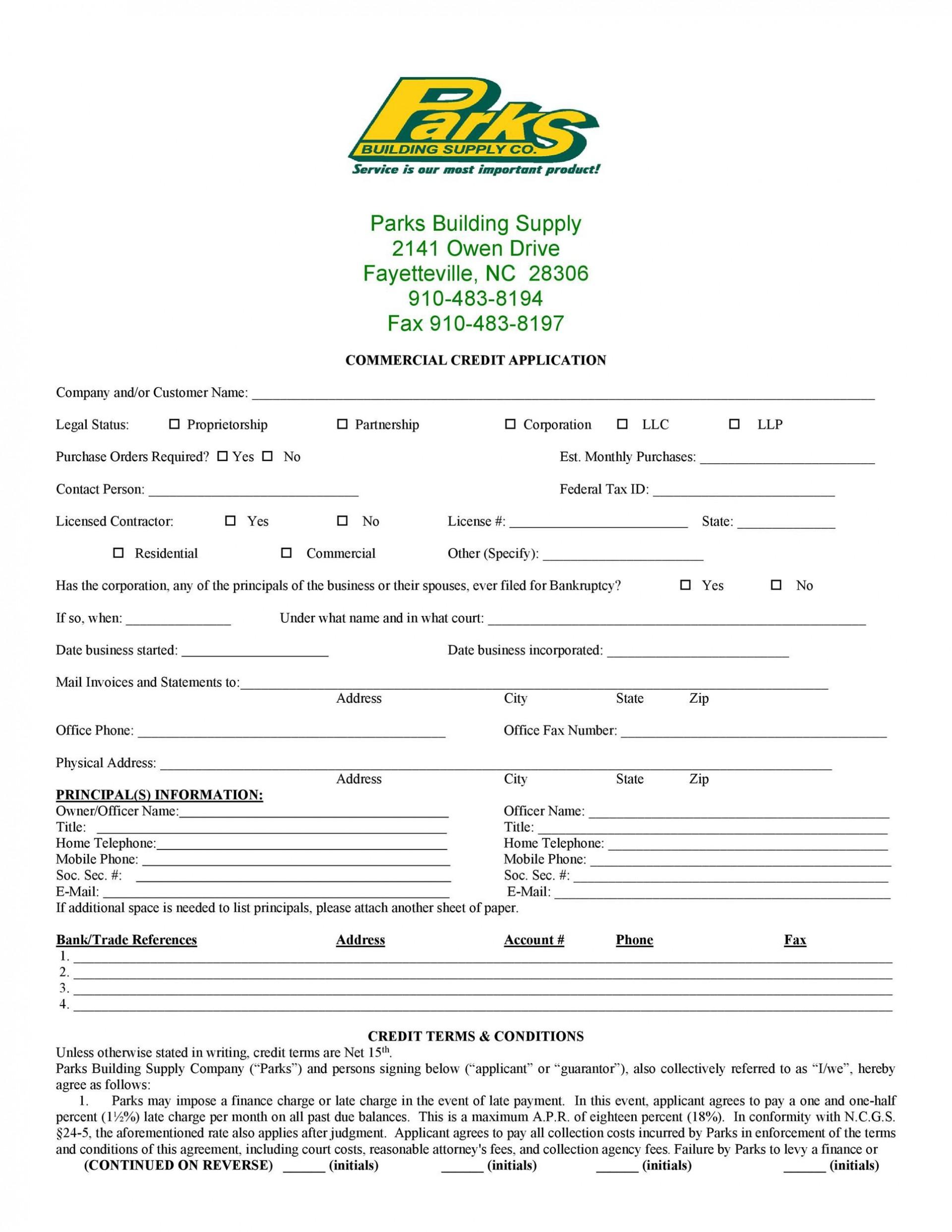 008 Unusual Busines Credit Application Form Free Idea  Template1920