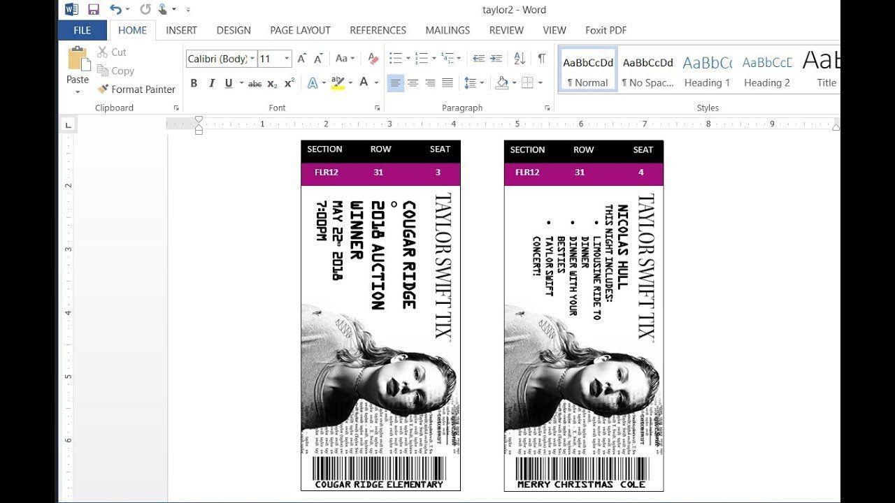 008 Unusual Concert Ticket Template Word Image  Free MicrosoftFull