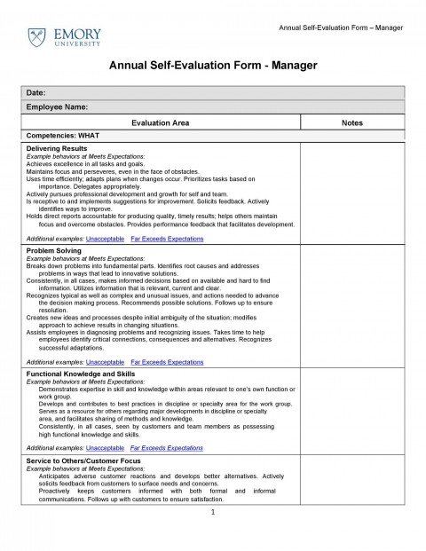 008 Unusual Employee Self Evaluation Form Template High Def  Free Word480