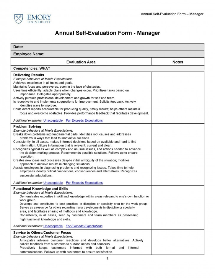 008 Unusual Employee Self Evaluation Form Template High Def  Free Word728