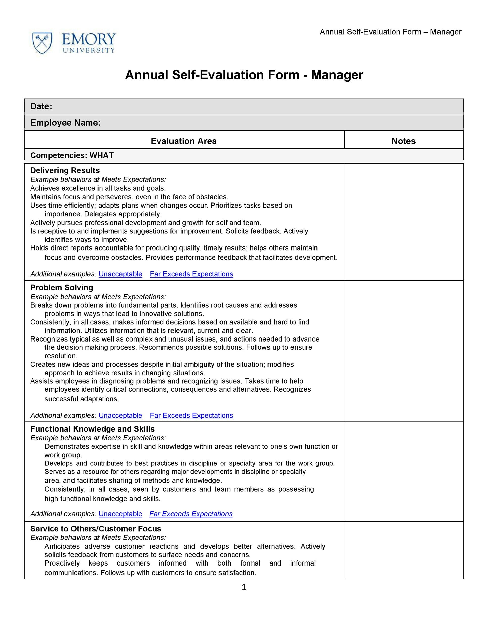 008 Unusual Employee Self Evaluation Form Template High Def  Free WordFull
