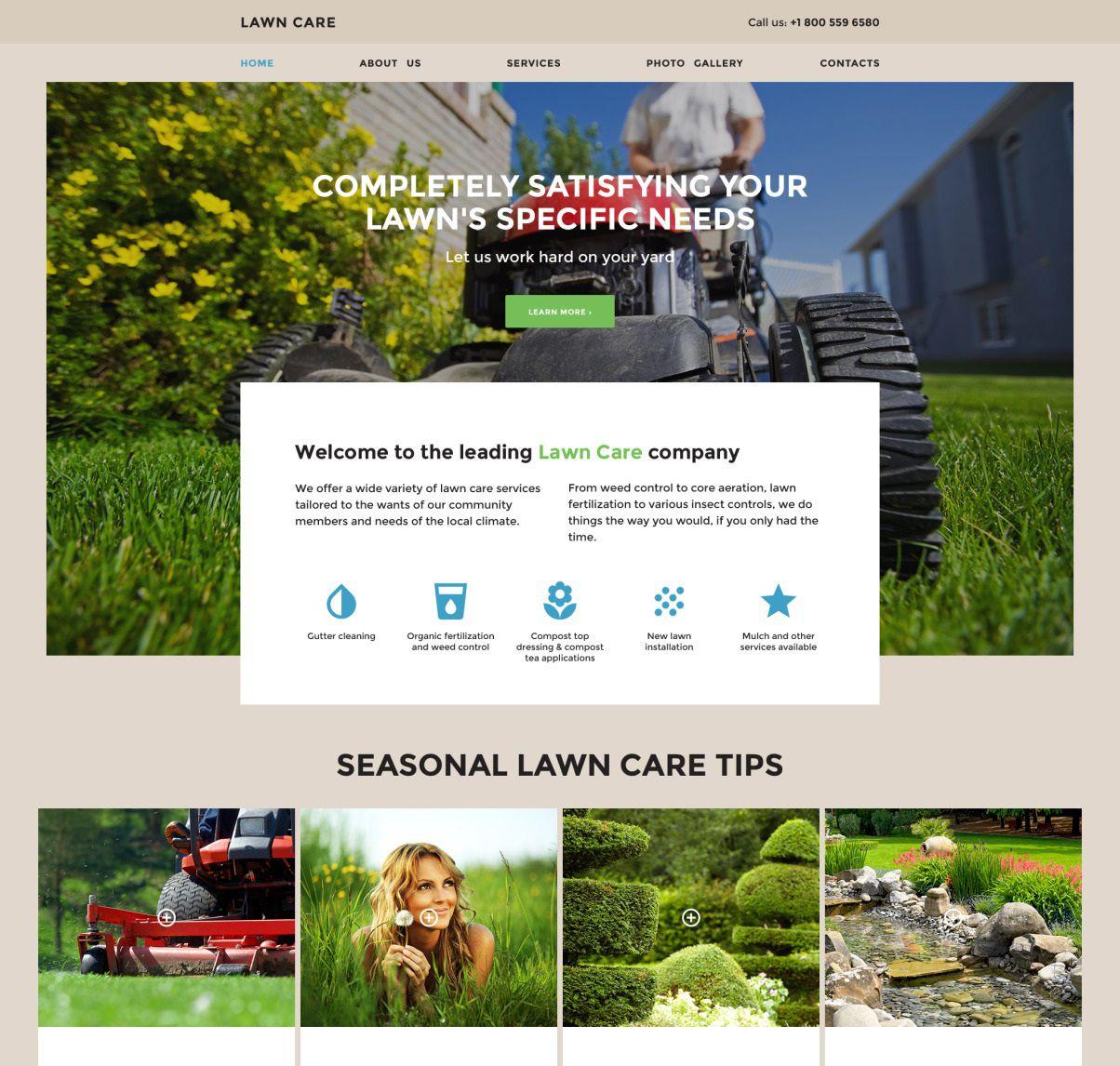 008 Unusual Lawn Care Website Template Sample Full