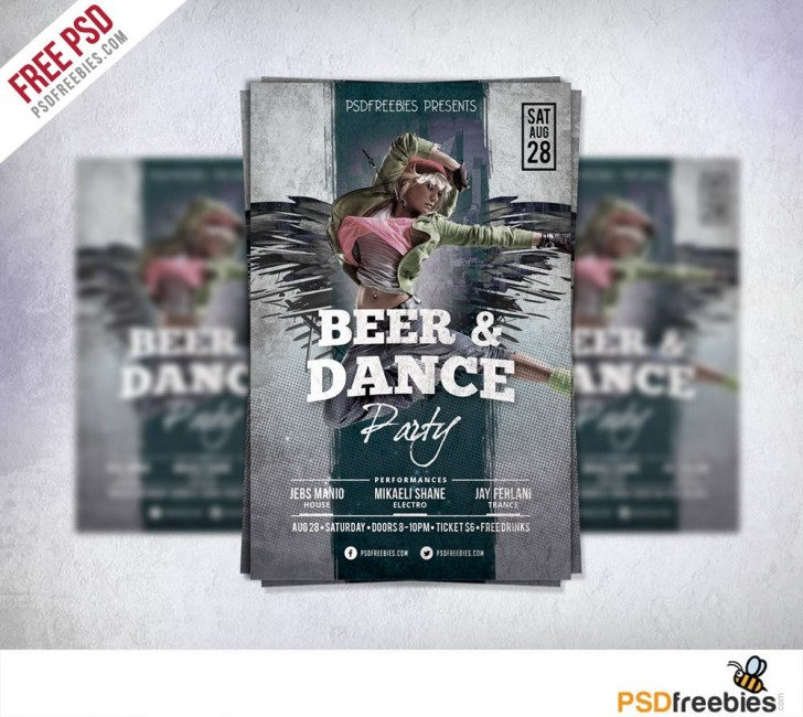 008 Unusual Party Event Flyer Template Free Download Concept 728