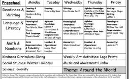 008 Unusual Preschool Weekly Lesson Plan Template Sample  Editable Pdf Word