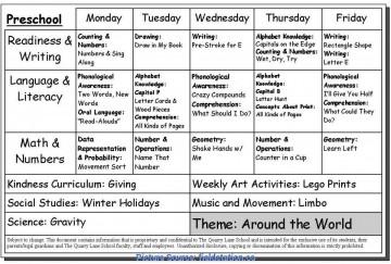 008 Unusual Preschool Weekly Lesson Plan Template Sample  Pdf Free Printable360