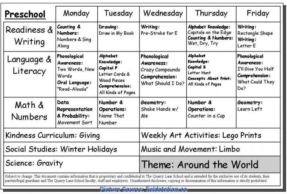 008 Unusual Preschool Weekly Lesson Plan Template Sample  Pdf Free Printable960