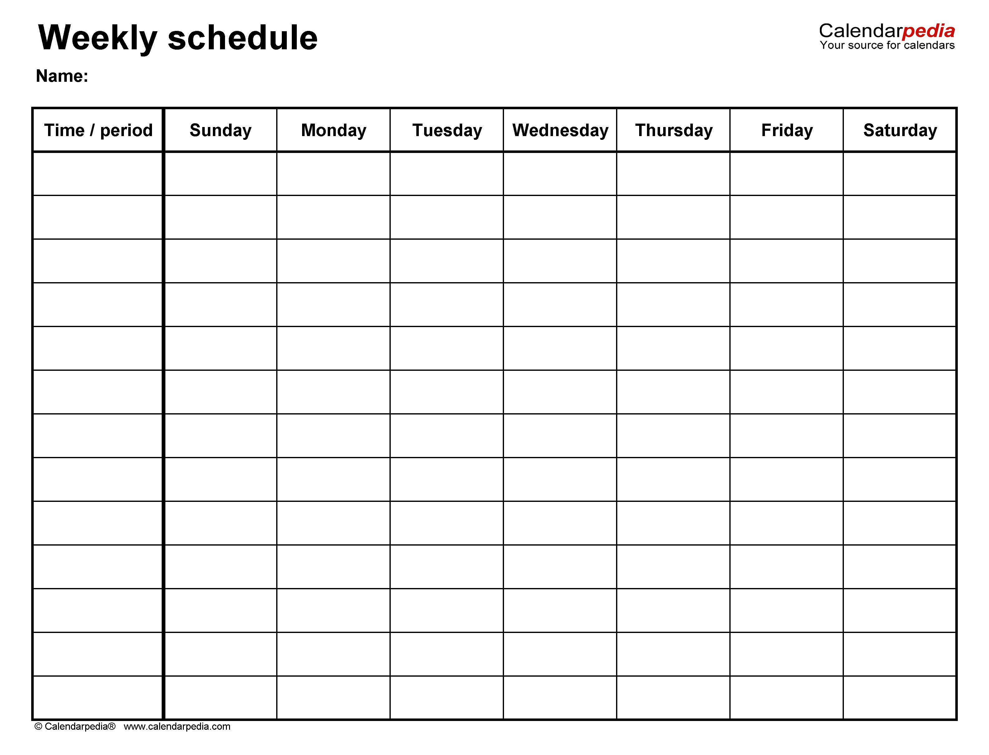 008 Unusual Weekly Schedule Template Word Inspiration  Work Microsoft PlanFull