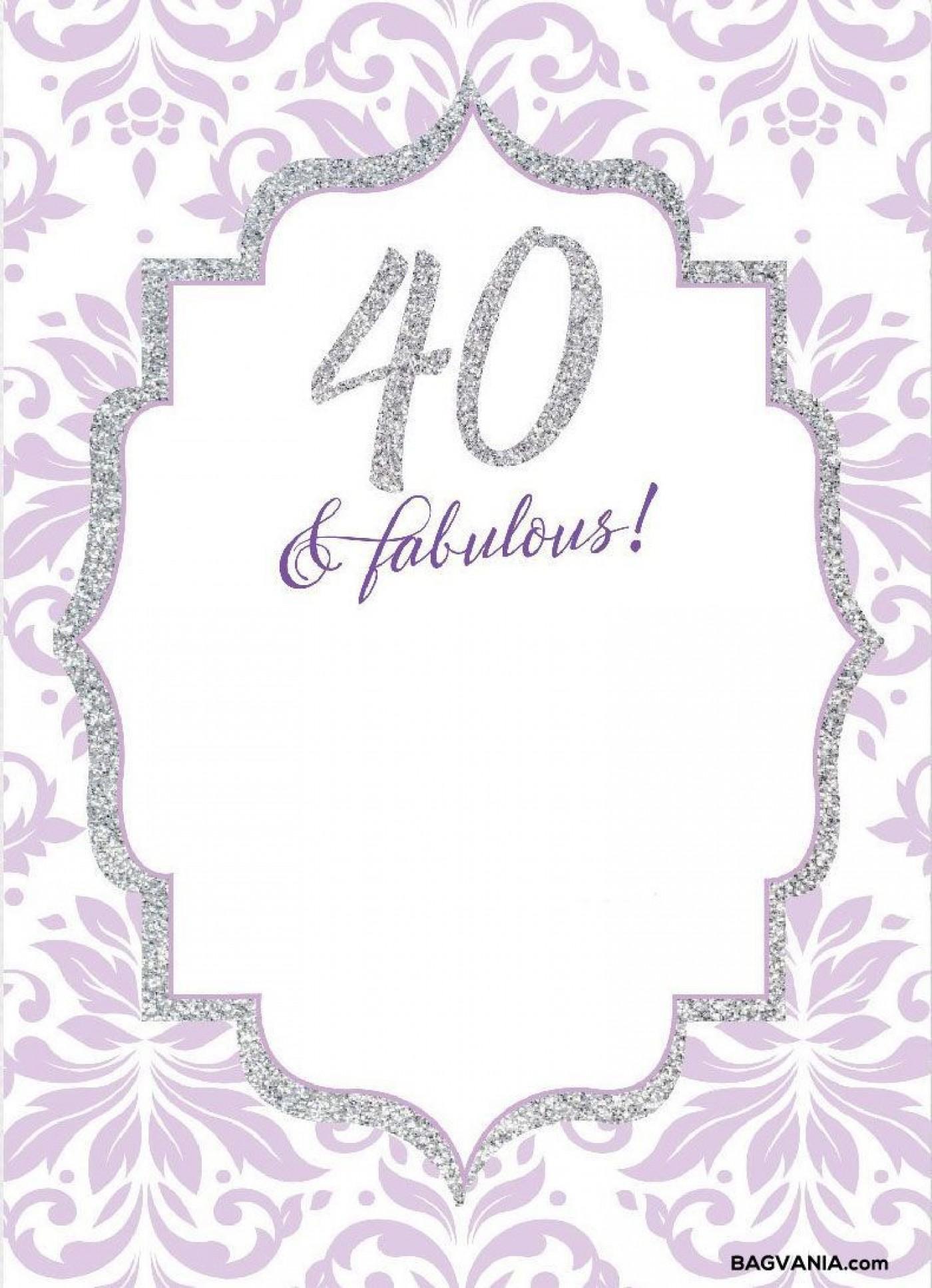 008 Wonderful 40th Birthday Party Invite Template Free Idea 1400