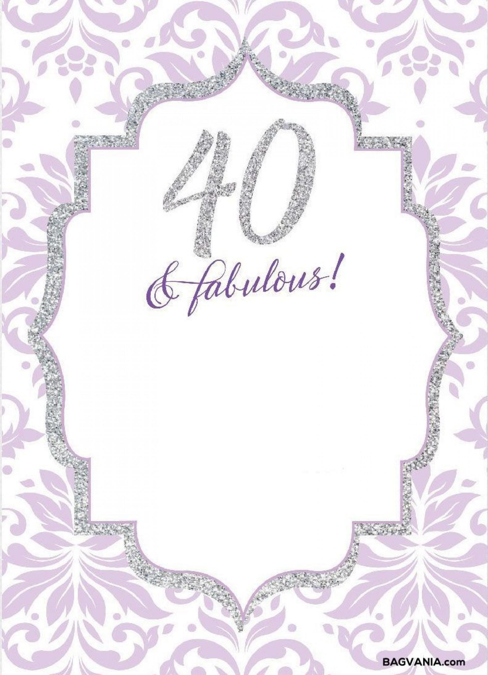 008 Wonderful 40th Birthday Party Invite Template Free Idea 1920