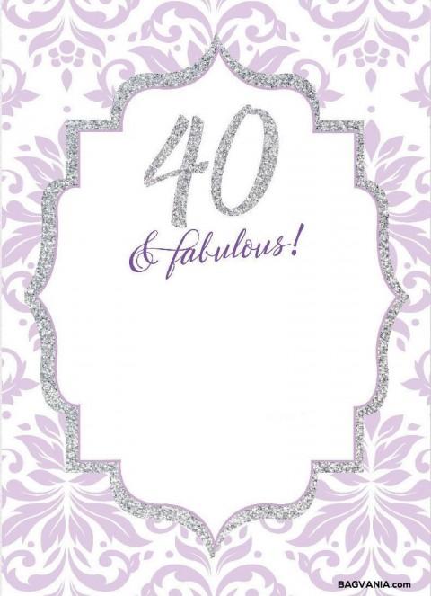 008 Wonderful 40th Birthday Party Invite Template Free Idea 480