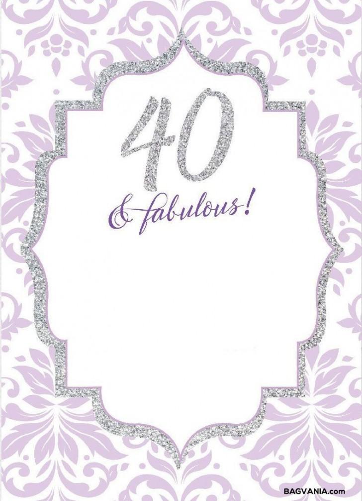 008 Wonderful 40th Birthday Party Invite Template Free Idea 728