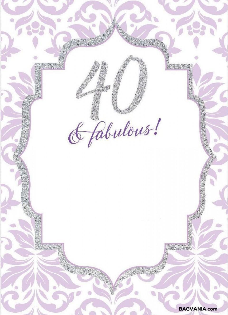 008 Wonderful 40th Birthday Party Invite Template Free Idea 960