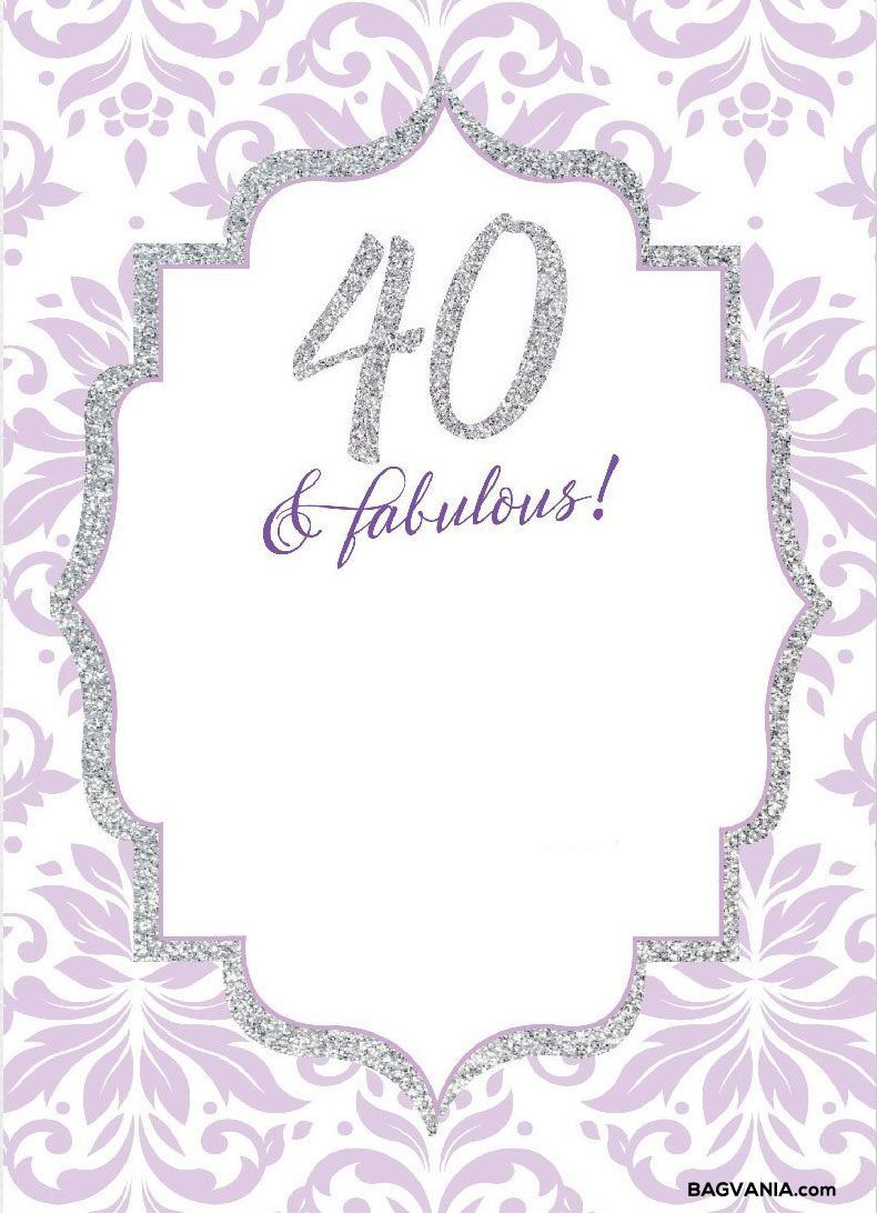 008 Wonderful 40th Birthday Party Invite Template Free Idea Full