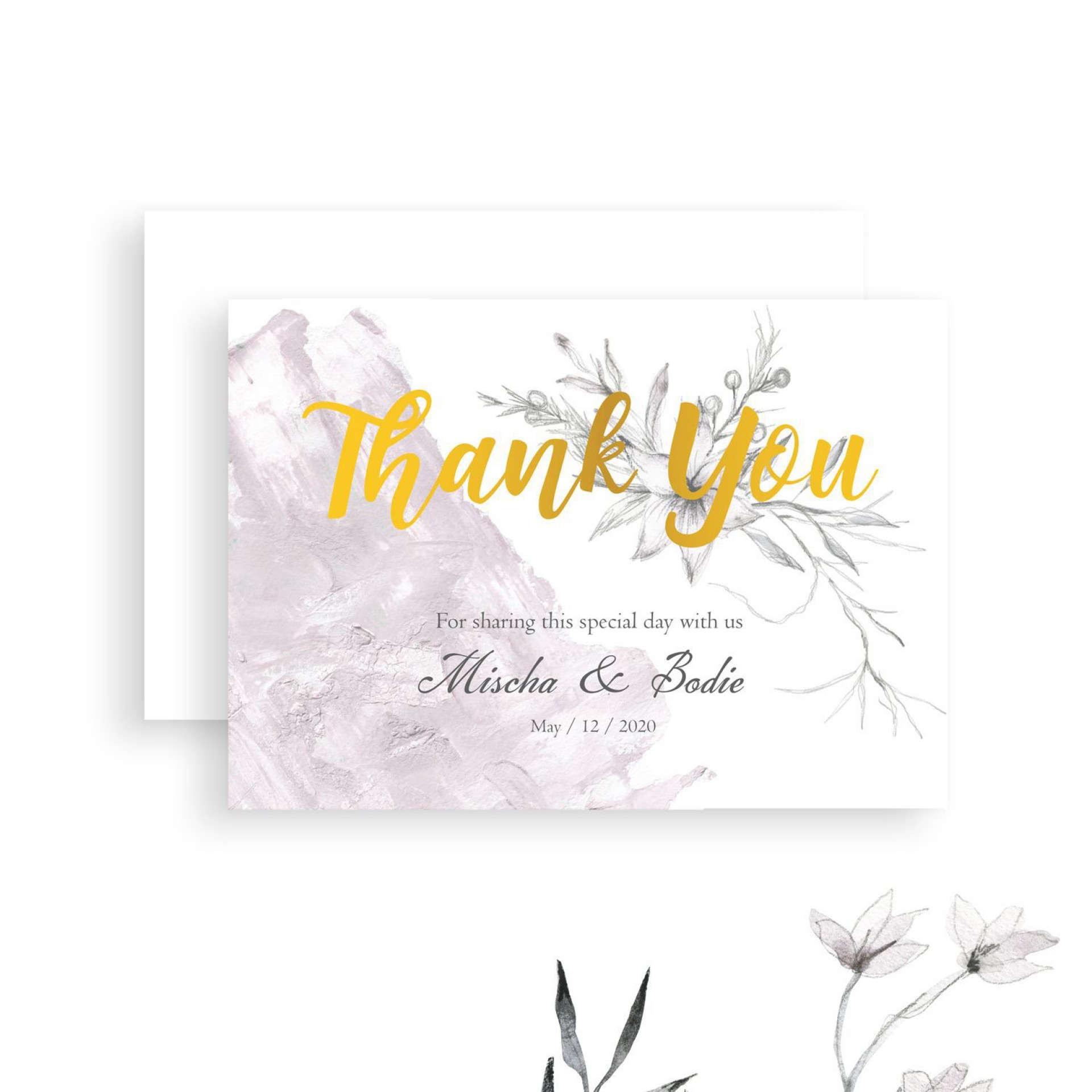 008 Wonderful Diy Wedding Thank You Card Template Example  Templates1920
