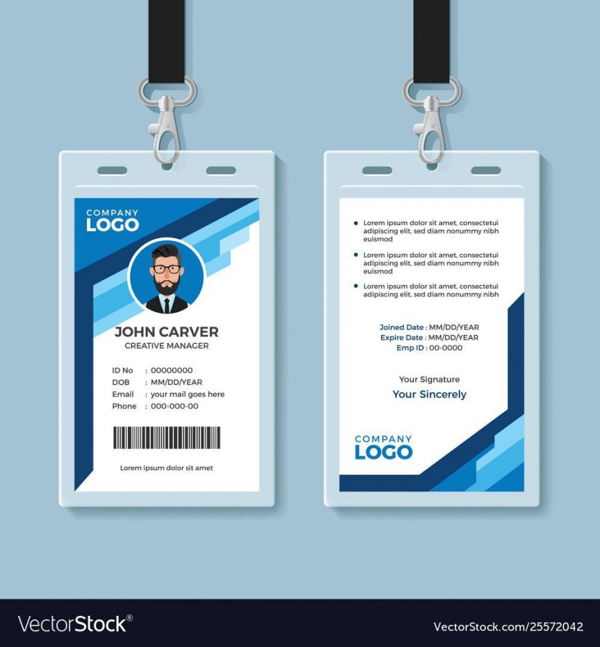 008 Wonderful Employee Id Card Template Picture  Microsoft Word Free Download Vertical Excel