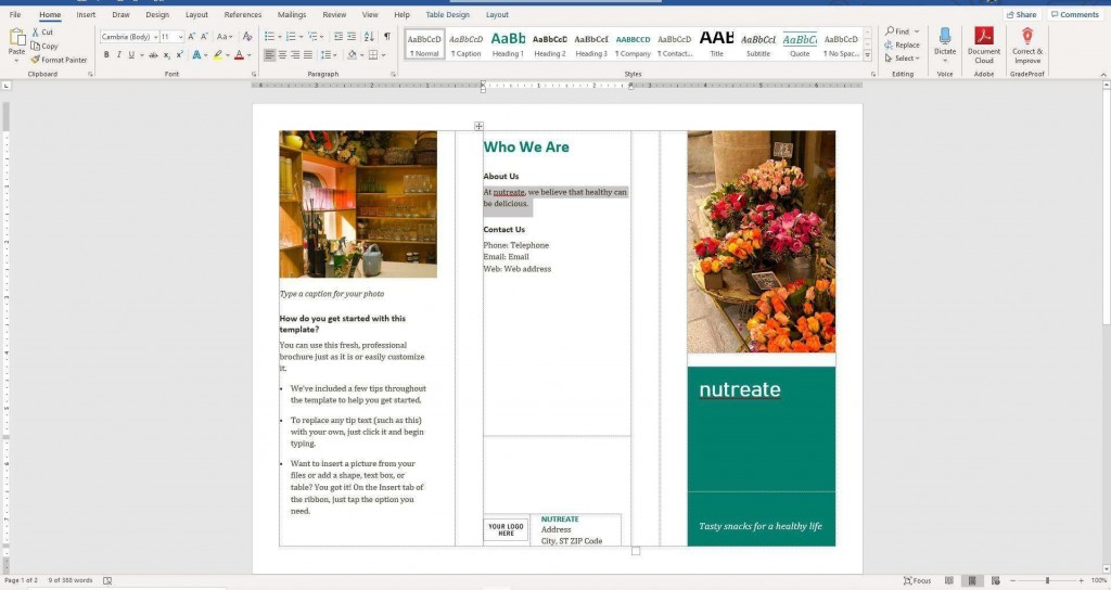 008 Wonderful Format Brochure Word 2007 Idea Large