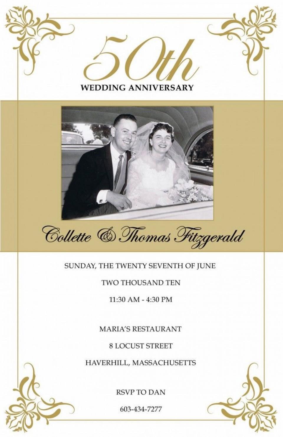 008 Wonderful Free Printable 50th Wedding Anniversary Invitation Template Image 960