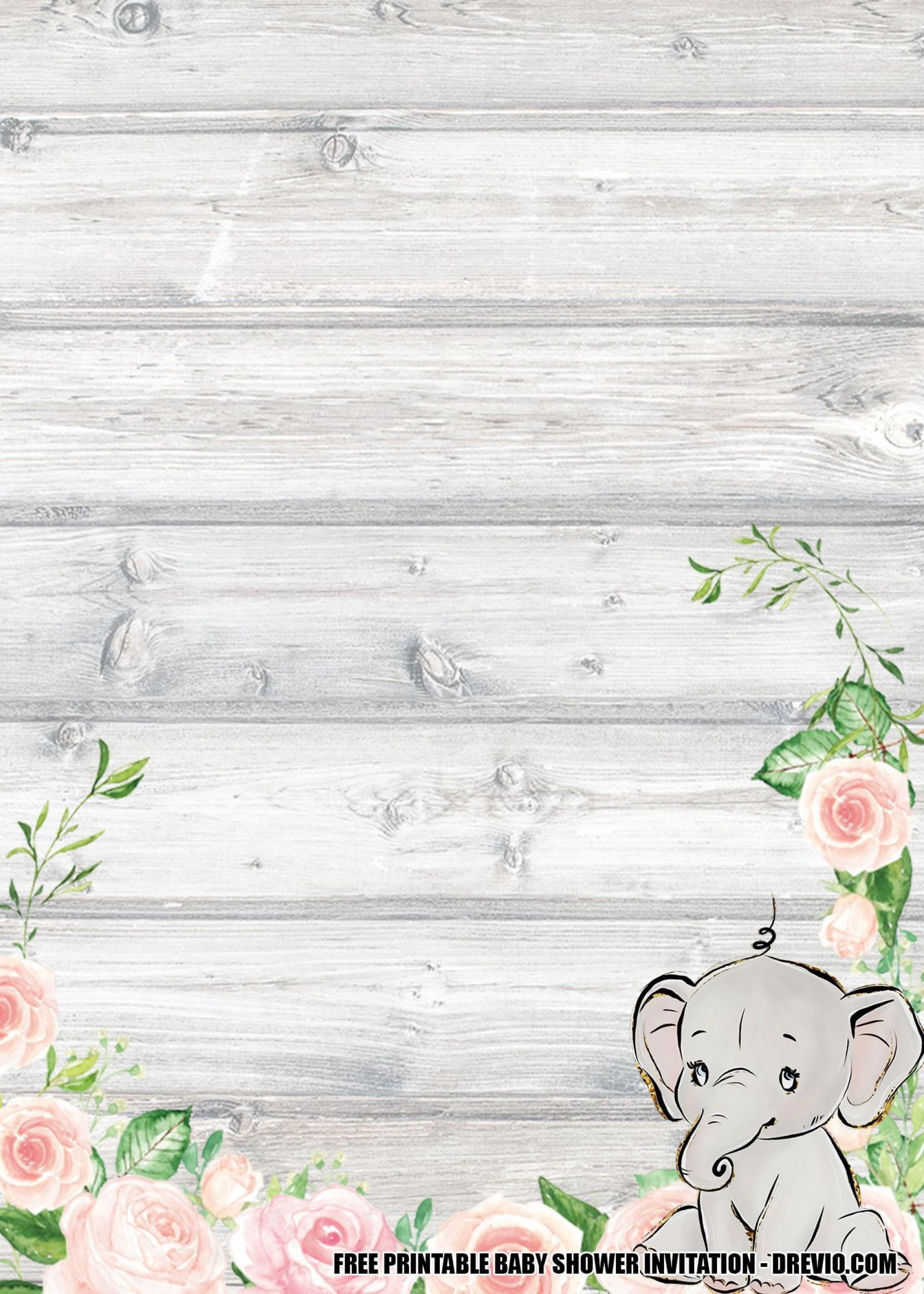 008 Wonderful Free Printable Elephant Baby Shower Invitation Template High Resolution  Templates Editable1920