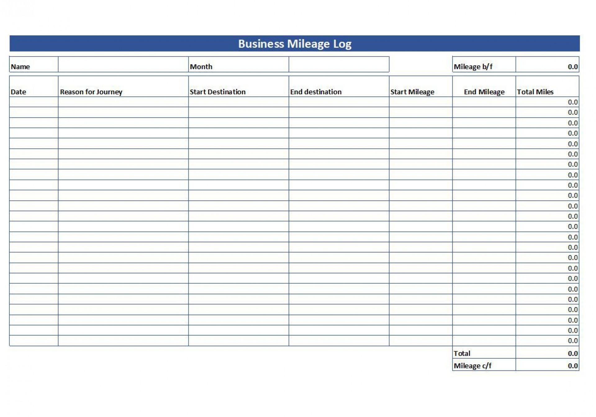 008 Wonderful Mileage Log Printable Template Sample  Book Excel1920