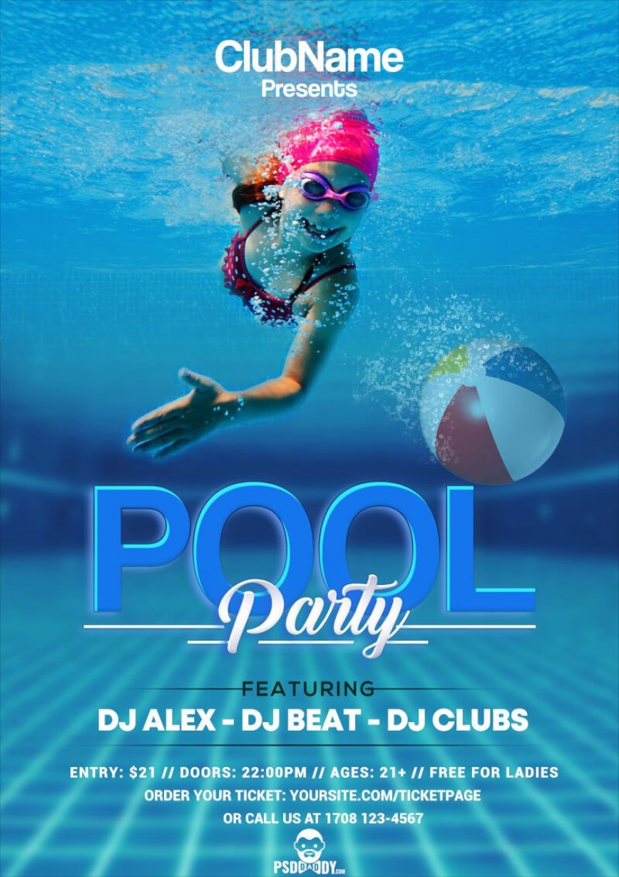 008 Wonderful Pool Party Flyer Template Free Image  Psd Download
