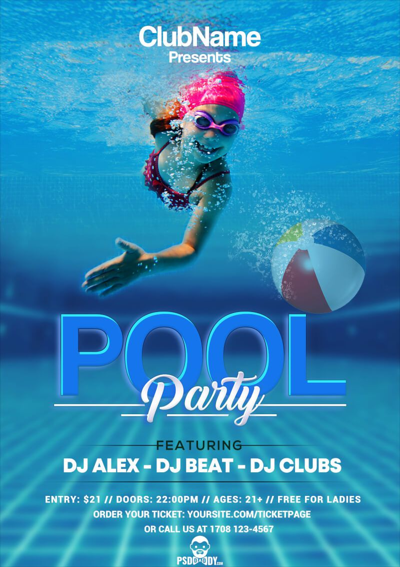 008 Wonderful Pool Party Flyer Template Free Image  Photoshop PsdFull
